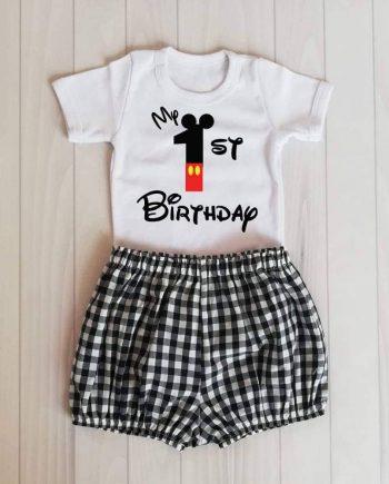 "Персонализиран комплект бяло боди и карирано панталонче ""My 1st Birthday"""