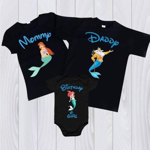 Комплект в три части, черен с надпис Birthday girl и картинка от Малката русалка