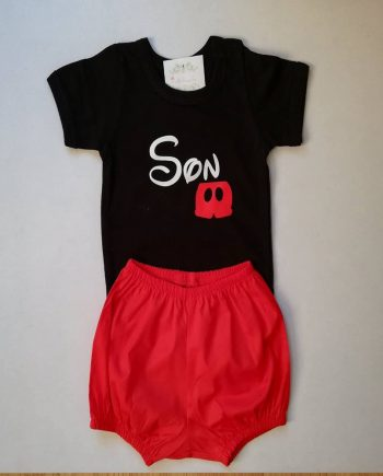 Персонализиран комплект черно боди и червено панталонче Мики Маус