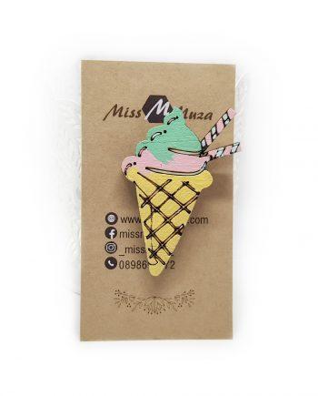 """Свежа дървена брошка """"Сладолед"""" в жълто, розово и зелено"""