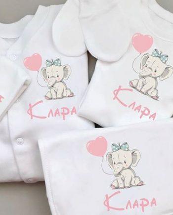 Бебешки комплект за новородено в бял цвят с апликация Слон с балон