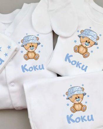 Бебешки комплект за новородено с апликация Мечо с шапка