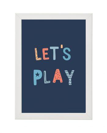 Постер Lets play, син фон