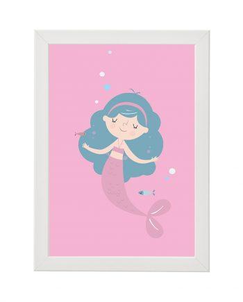 Постер Русалка, розов фон