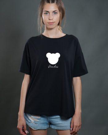 Стилна тениска в черен цвят с панда