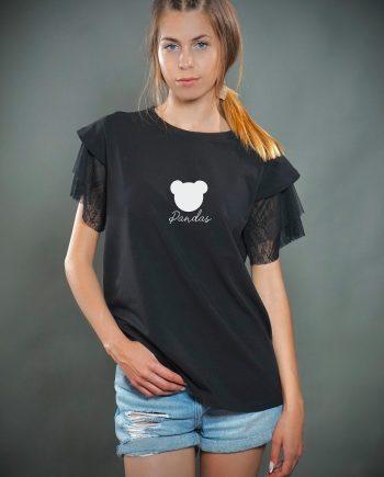 Красива тениска с дантелени ръкави и апликация панда