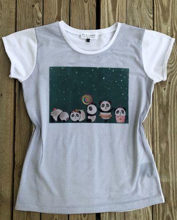 Тениска със закачливи панди