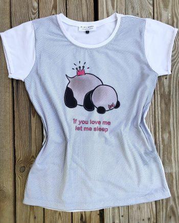 Тениска с панда и надпис