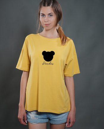 """Тениска """"Панда"""" в жълт цвят"""