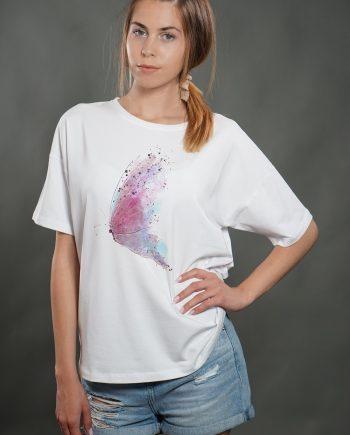 """Тениска """"Butterfly"""" в бял цвят"""