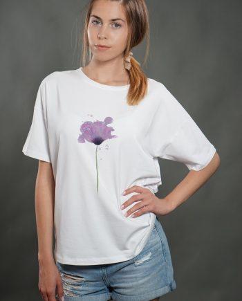 """Тениска """"Нежно цвете"""" в бял цвят"""