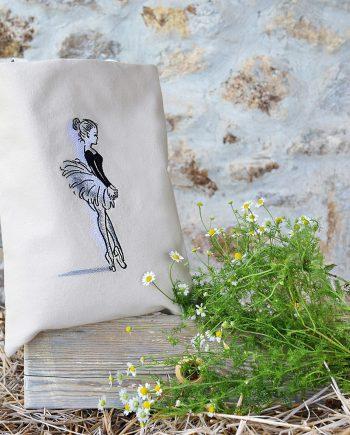 Памучна чанта – Балерина в черно и бяло