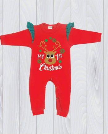 """Празничен гащеризон """"Моята първа Коледа"""" с къдрички"""