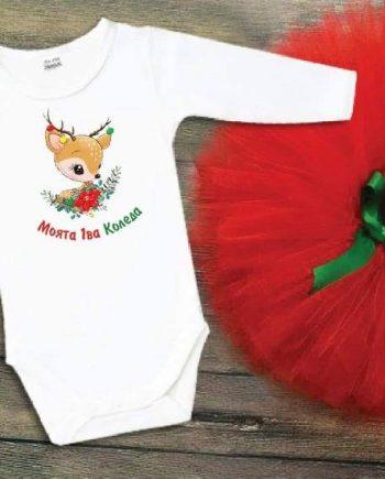 Коледен туту комплект, в бяло и червено със зелена панделка