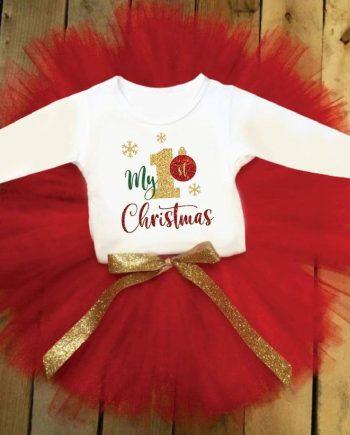Коледен туту комплект в бяло и червено със златна панделка