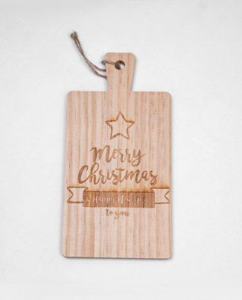 """Дъска за рязане """"Merry Christmas"""" със звезда"""