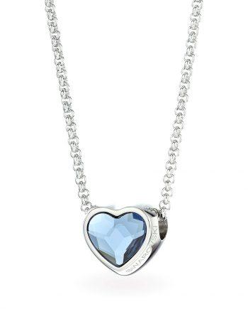 Красиво колие от стомана със синьо сърце Swarovski кристал