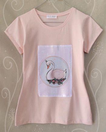 """Тениска """"Лебед"""" в бананов цвят"""