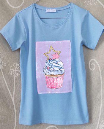 """Тениска """"Мъфин"""" в син цвят"""