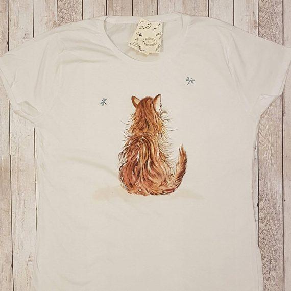 """Рисувана тениска """"Котe с водни кончета"""""""