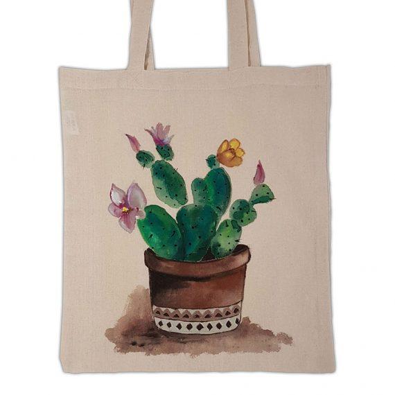 """Рисувана текстилна торба """"Кактус"""""""