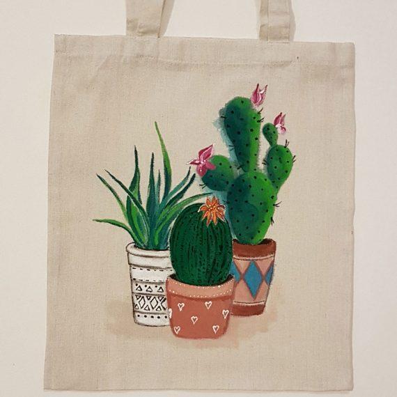 """Рисувана текстилна торба """"Кактуси"""""""