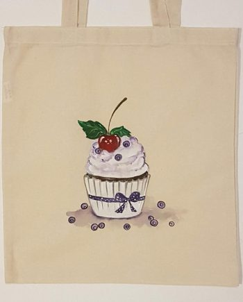 """Рисувана текстилна торба """"Кексче с боровинки"""""""