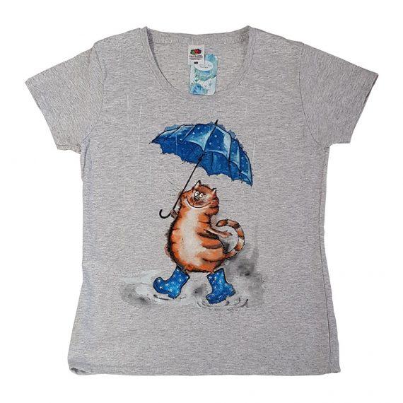 """Рисувана тениска """"Котe с чадър"""""""