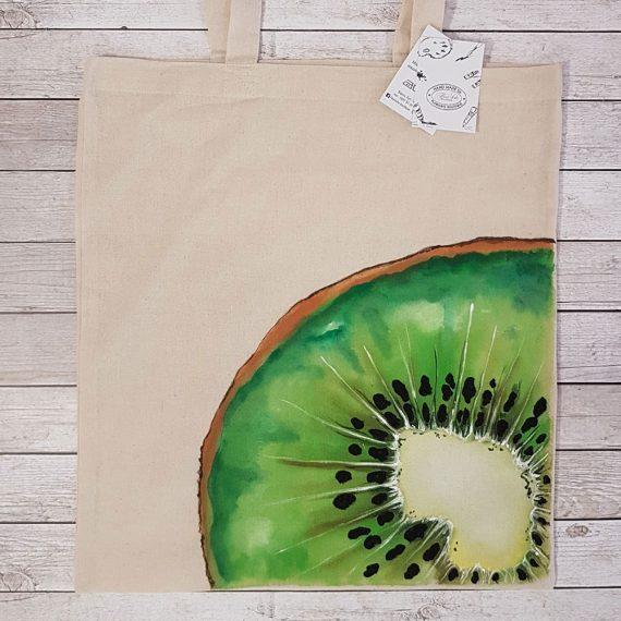 """Рисувана текстилна торба """"Киви"""""""