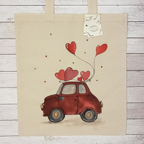 """Рисувана текстилна торба """"Кола със сърце"""""""