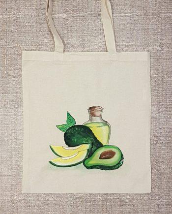 """Рисувана текстилна торба """"Авокадо със зехтин"""""""