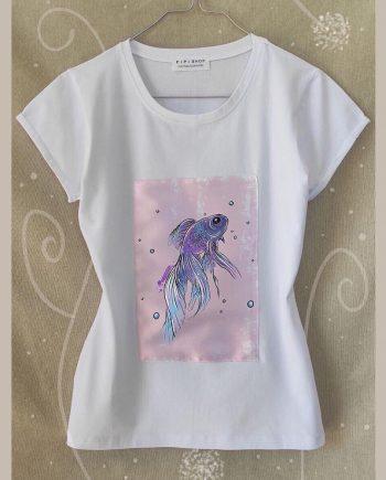 """Тениска """"Рибка"""" в бял цвят"""