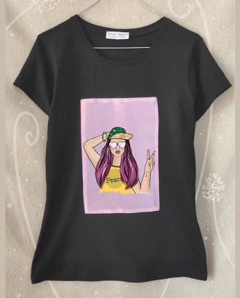 """Тениска """"Peace"""" в цвят графит"""