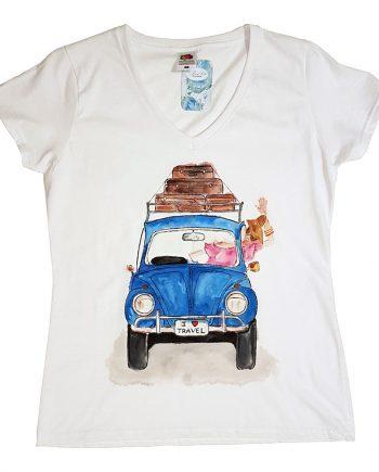 """Рисувана тениска """"I Love Travel, син автомобил"""""""