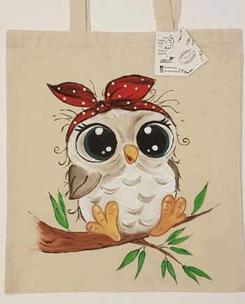 """Рисувана текстилна торба """"Бухалче"""""""