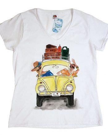 """Рисувана тениска """"I Love Travel, жълт автомобил"""""""
