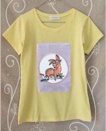 """Тениска """"Сърничка"""" в жълт цвят"""