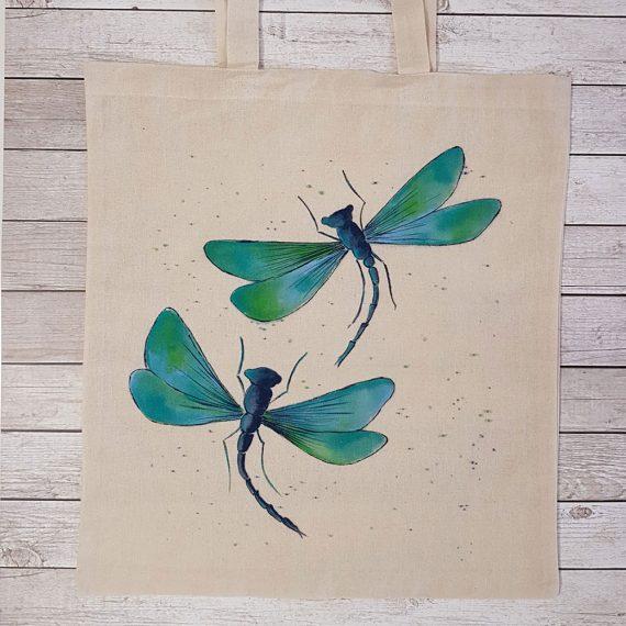"""Рисувана текстилна торба """"Водни кончета - тюркоаз"""""""