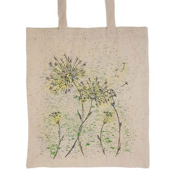 """Рисувана текстилна торба """"Глухарчета с пръски"""""""