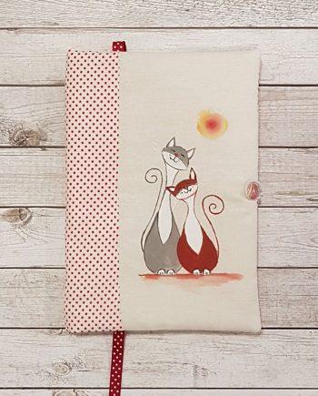 """Рисувана подвързия за книга """"Влюбени котета"""""""