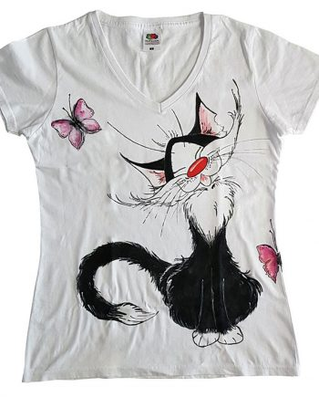"""Рисувана тениска """"Коте усмивка"""""""