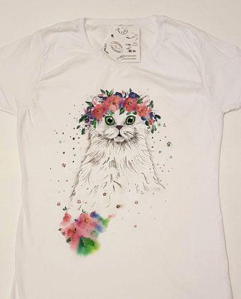 """Рисувана тениска """"Коте с цветя"""""""