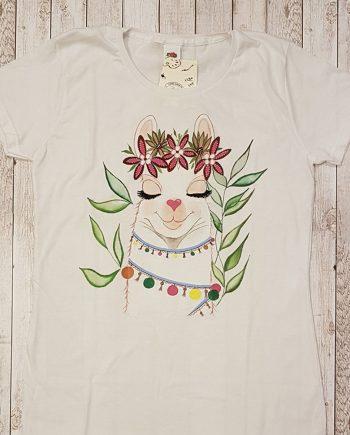 """Рисувана тениска """"Лама кокетка с цветя"""""""