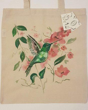 """Рисувана текстилна торба """"Колибри"""""""
