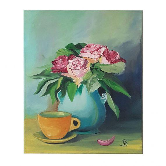 """Маслена картина """"Чай с рози"""""""