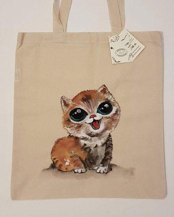 """Рисувана текстилна торба """"Котенце"""""""