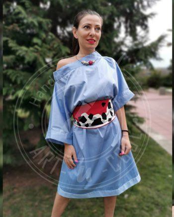 Овърсайз дизайнерска рокля с рисуван колан
